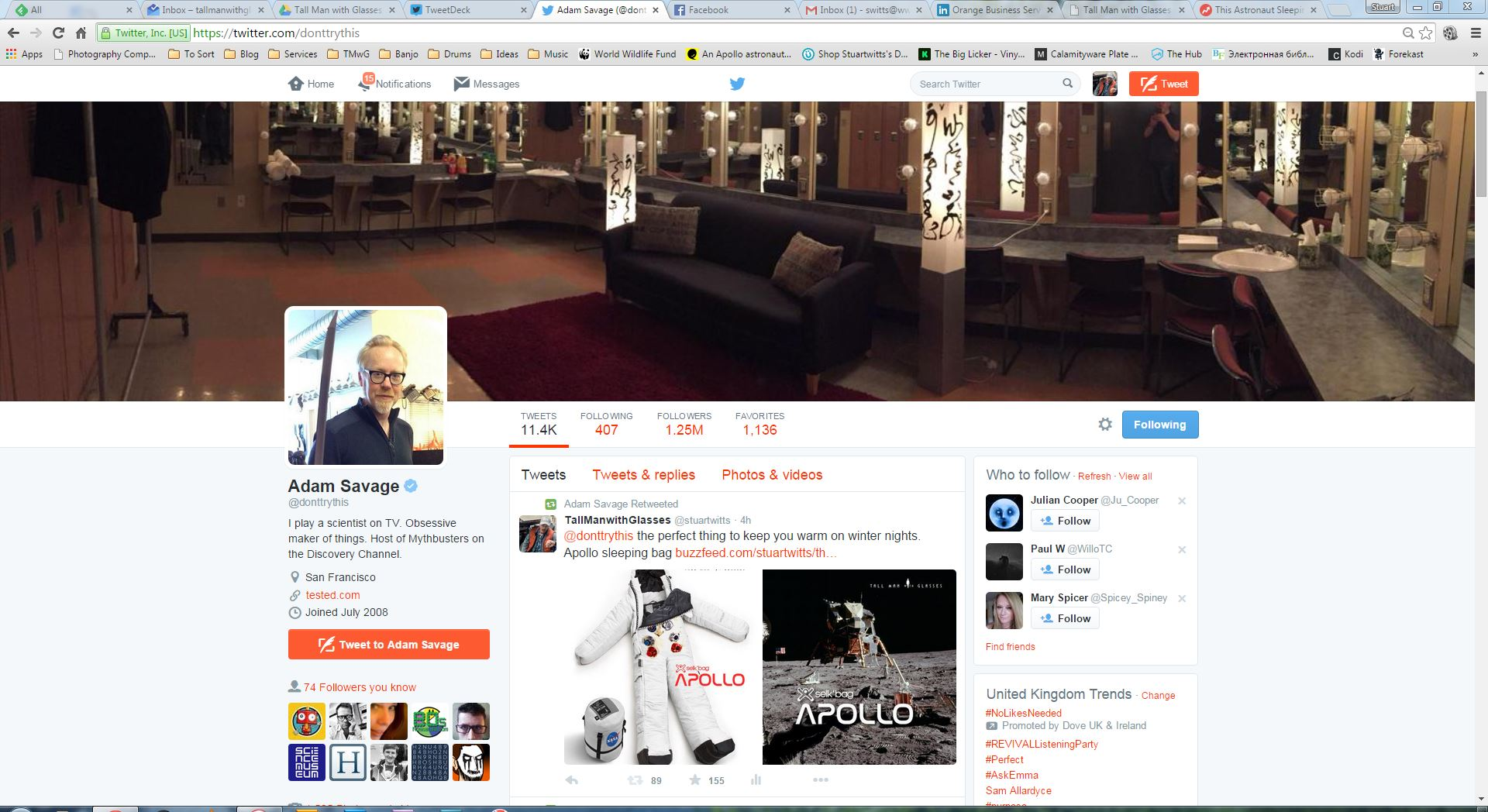 Adam Savage (Mythbusters) shows his support for the Apollo Selk'Bag